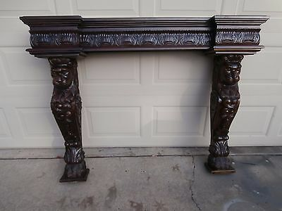 Magnificent Heavily Cared Fireplace Mantel W/ Carved Lion Side Pcs. 20Th Cent.