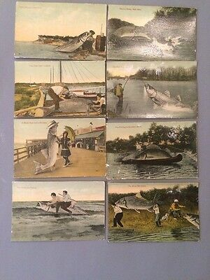 EIGHT LINEN CARD LOT OF COMIC FISHING NOT USED 1913 Postcards J Herman