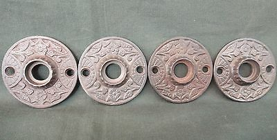 Set of 4 Victorian Fancy Cast Iron Door Knob Backplates - Old Door Hardware
