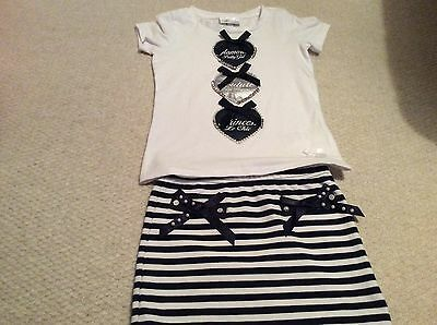 Girls Le Chic white and navy outfit set with jewels (110cm)- approx 4-5 years