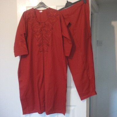 BN Womens Red Embroidered Shalwar Kameez Suit - Large/X Large