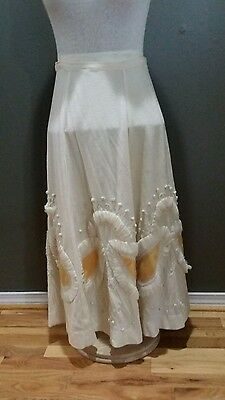 True Vintage 1940s Embroidered Custom Wool Novelty Circle Skirt *S* AS FOUND
