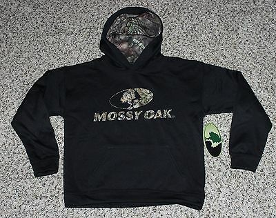 NEW Mossy Oak Youth Hoodie Black with Camo Hunting Hooded Sweatshirt S M L XL
