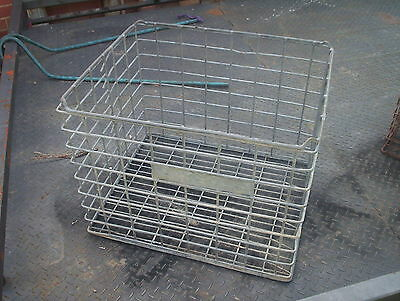 Old Vintage Collectable industrial galvanised  steel wire crates basket  PICK UP