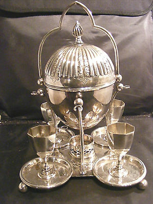 Antique Silver Plate Egg Coddler And Egg Cups