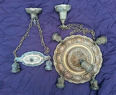 Antique Vintage Art Deco Ceiling Light Fixture Chandelier Cast Iron Pair
