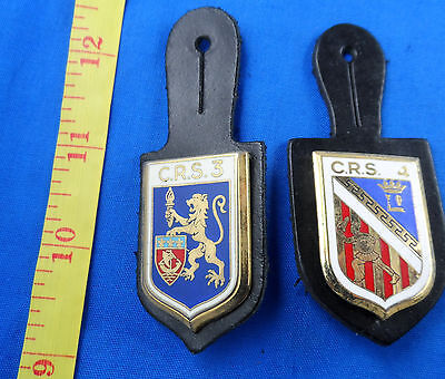 France -Crs 3 And 4 National Police Republican Securit Badge Lot Of 2 Different