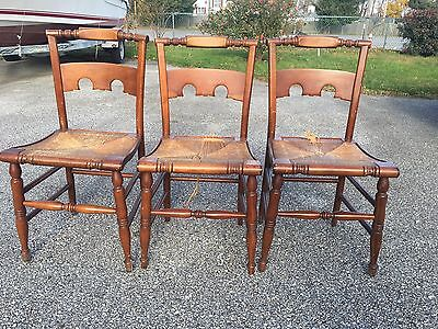 Lot Of 4 Antique Wooden Weave Chair