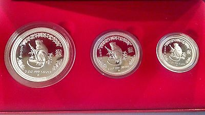 2004 YEAR OF THE MONKEY LUNAR 1 Three Coin Silver Proof Set Series -Cyber Sale!