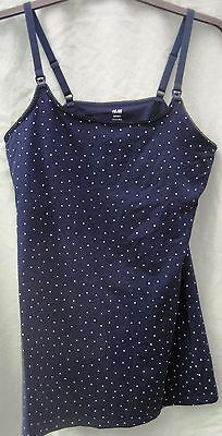 Navy Blue with White Spots H&M Mama Stretchy Strappy Top Size M