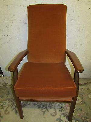 Rust velour vintage Parker knoll armchair fireside chair, comfy sturdy tidy
