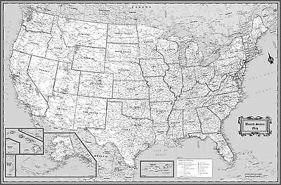 WORLD CLASSIC BLACK & White Wall Map Poster - 36\