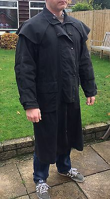 Driza Bone Full Length Waxed Black Riding / Stockman's Coat Size 5 Medium 105cm
