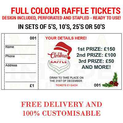 1000 Printed Personalised Raffle Prize Draw Tickets, Events