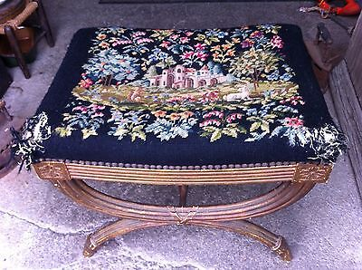 Vintage French Tapestry piano stool,dressing table,Antique,restoration project