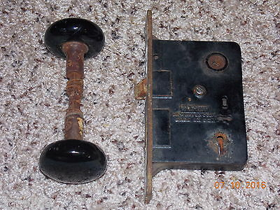 Sargent Mortise Lock and Black Porcelain Knobs - New Haven, CT - USA