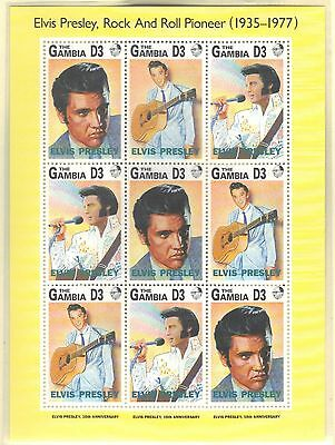 Gambia Mnh 1993 Elvis Presley Full Sheet Of 9