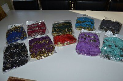 10 PCs Wholesale Lot Belly Dancing Dance Hip Scarf Belt Wrap Chiffon 128 Coins