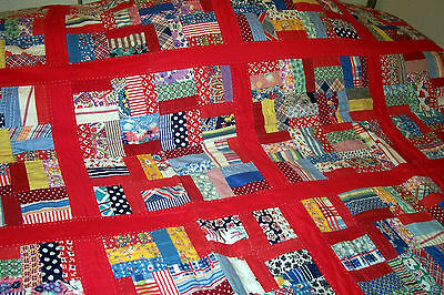 """VINTAGE 1930's Hand Stitched Red Cotton Feedsack* Quilt..Full/Double..70"""" x 82"""""""