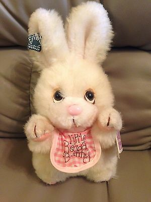 "Vintage Applause Little Beggar Bunny Rabbit Plush with Bib 1984 9"" WITH TAGS"