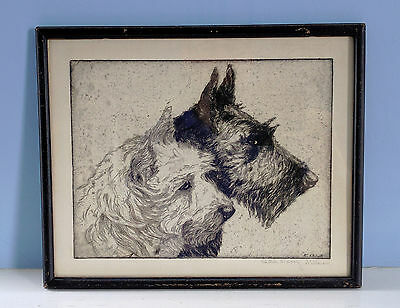 Vtg. Signed EDITH DERRY WILLSON Dog Etching, Black & White Terriers in Profile