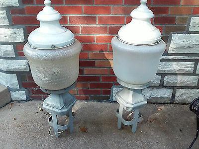 2 Antique Industrial Street Lamps Glass Globes/Metal Bases/Aluminum Finials VGC