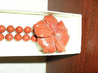 natural stone - carved flower on beaded choker necklace - terracotta colour