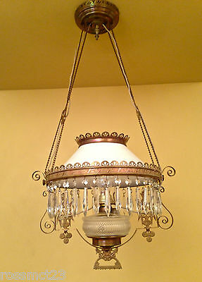 19th c Aesthetic Movement electrified kerosene chandelier