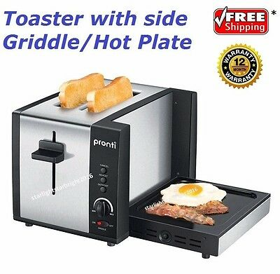 Breakfast Station Toaster Griddle Hot Plate Toast Muffin Bacon Cooker Electric