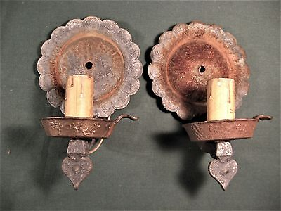 Pair Vintage Arts & Crafts Cast Iron Wall Sconces Lighting