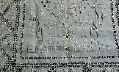 "Vintage Italian hand made Reticella lace embroidery linen tablecloth 118 "" ×68"""