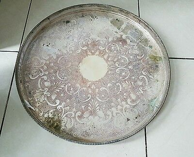 Silver plated Copper Tray 1850g  46cm circumference. Made in Sheffield.