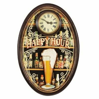 Wooden Happy Hour Clock Pub Sign 3D Art with FREE Shipping