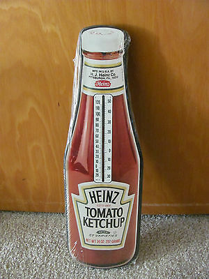 """Vintage Heinz Tomato Ketchup Bottle 15"""" Wood Thermometer Sign SEALED 1992"""