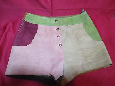 Multi-Colored Leather Shorts-Mostly Brown/Green