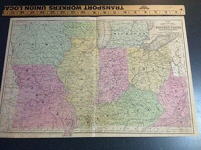 Antique Vintage Map Mitchell's 1852 Western U. S. Hand Colored