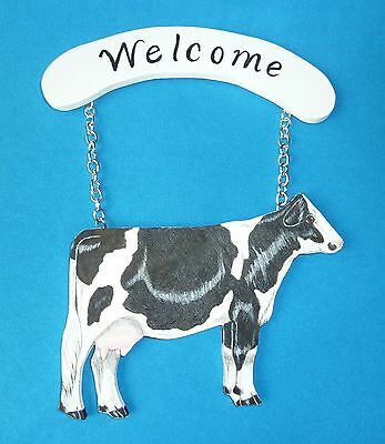 "Holstein Cow Welcome Sign on Wood Size 6-1/2"" x 4-1/2"""