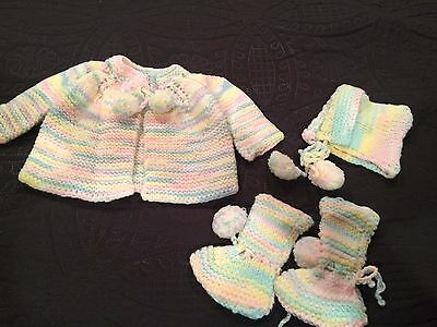 Hand Crochet Baby 0-3 Month Baby Sweater Booties Hat Multi Colored