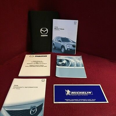 2008 Mazda Tribute Owners Manual with warranty guide and case