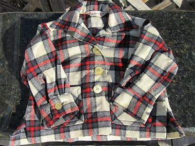 Old Vtg Debby Dare Toddler Shirt Button Up Flannel Jacket Wool Western 2t