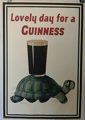 "24"" x 34"" Guinness Poster Lovely Day For Guinness Turtle Official Pub Ad"