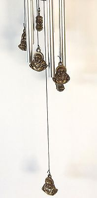 Feng Shui Happy Buddha Wealth Wind Chime Garden Hanging Mobile - NEW