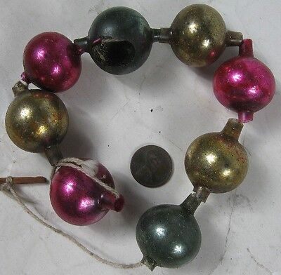 "Vintage 1920's-30's Christmas Pink & Gold Mercury Glass Bead Garland 10"" Long"