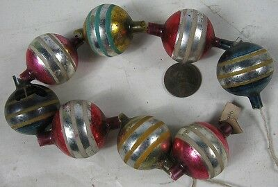 "Vintage 1920's-30's Christmas Pink & Green Mercury Glass Bead Garland 11"" Long S"