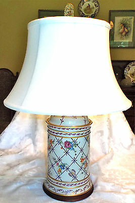 Hand Painted Floral Porcelain Signed Be B Italy Wooden Base Lamp Finial & Shade