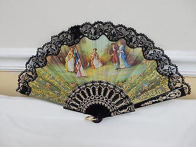 """Vtg Antique Hand Painted Signed """" C. Mateu"""" - Personal - Victorian Lace Fan"""