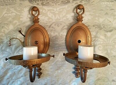 Antique Matching Pair Brass Sconces