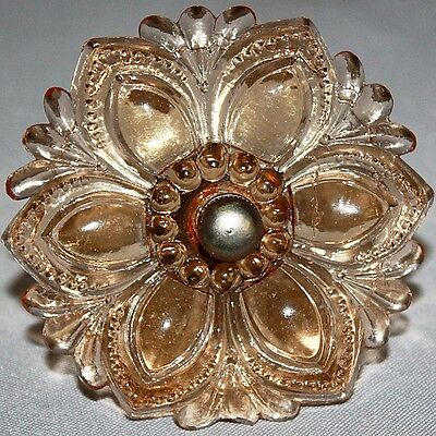 """Vintage Antique 3"""" VICTORIAN Very Light AMBER PEACH GLASS CURTAIN TIE BACK"""