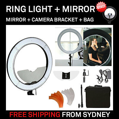 """Dimmable Diva LED Ring Light 19"""" / 48.5cm 55W with Mirror Make Up Beauty Studio"""