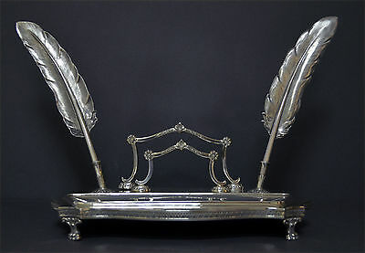 Vintage Highly Decorative Marked Spanish Solid Silver Inkstand Quills